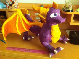 Spyro Paper mache 2 - 6th grade summer by Paleodraw