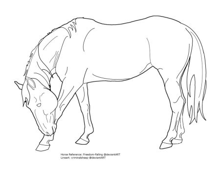 Bowing horse lineart by criminalsheep