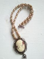 Elegant Cameo Necklace by LoverofWords-xo