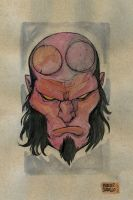 Hellboy watercolor by mdavidct
