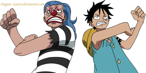 Doke no Buggy And Mugiwara No Luffy Colored by Puppet--Sasori