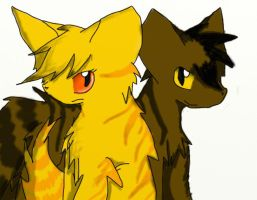 Goldenflower and Tigerstar by Cinderfall129