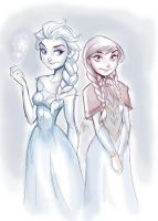 Elsa and Anna - Cold and Warm Colors by DaveJorel