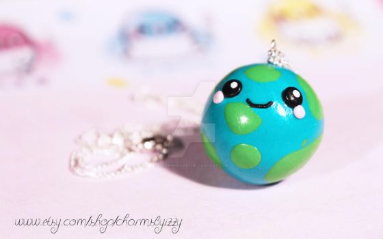 Kawaii World Earth Polymer Clay Charm Necklace by CharmsByIzzy