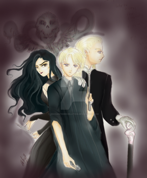 Draco, Lucius and Bellatrix by EnchantedRevelation
