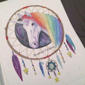 Unicorn watercolour painting by NocturnalCreations-x