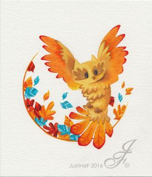 Owl waving in autumn leaves by JustineF-Illustrator