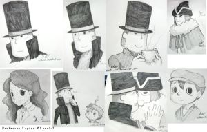 Professor Layton Expo Sketch Commissions by nattherat