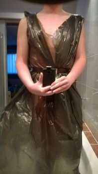 Near see-through garbage bag dress by 343Throwaway