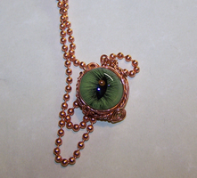 Green Cats Eye in Copper by mymysticgems