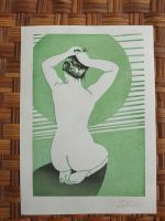 Putting up her hair. Japanese woodblock print by JillianEdward