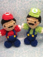 Mario and Luigi Amigurumi by Spudsstitches