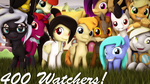 400 Watchers! by RedAceOfSpades