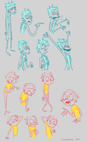 Rick and Morty doodles by Choppywings