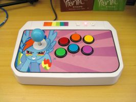 Rainbow Dash Arcade Stick by purpletinker