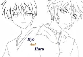 Haru and Kyo line art by naruto-hinata-fan-1