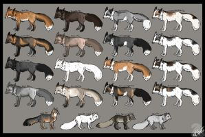 Fox color chart Redux by Krissyfawx