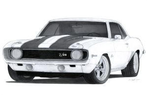 1969 Chevrolet Camaro Z/28 Drawing by Vertualissimo