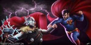 Thor vs Superman Redone by ForrestImel