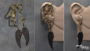 Winged steampunk ear wrap with post earring by bodaszilvia