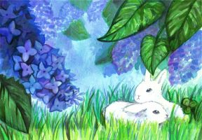 Lilacs and bunnies by 0474