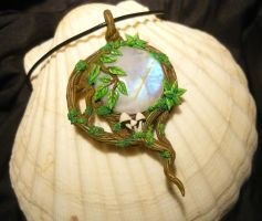 Elven Moon - handsculpted Pendant with Moonstone by Ganjamira