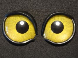 4cm yellow painted eyes with eyelids by DreamVisionCreations
