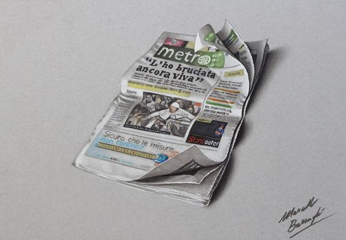 Metro newspaper drawing by marcellobarenghi