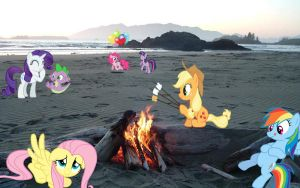 Mane 6 At The Beach by Mr-Kennedy92