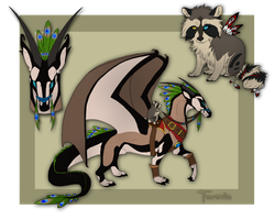 Dragon rider raccoon auction by TaraviAdopts