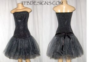Black n silver tulle dress by funkyfunnybone