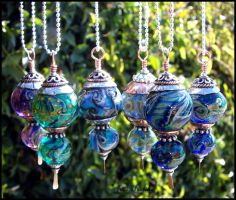 Glass Lampwork Bead Pendants by andromeda