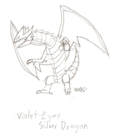 Violet-Eyes Silver Dragon by RikotheFoxKid