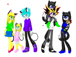 Akitao X Atem and Laura X Grimmjow sonic style by orihime999