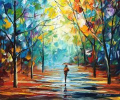 Autumn fog by Leonid Afremov by Leonidafremov