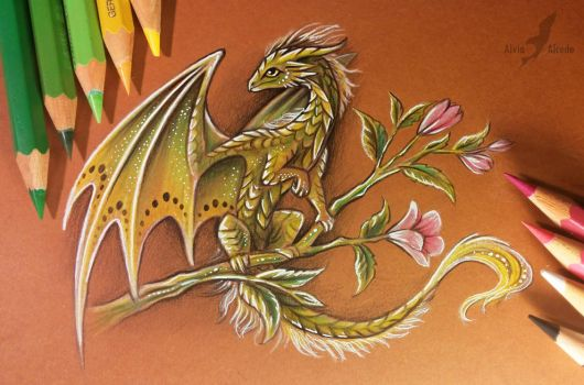 Forest flower dragon by AlviaAlcedo
