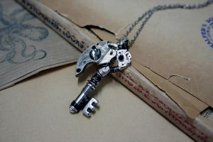 Godric - Steampunk skeleton key pendant by Catarios