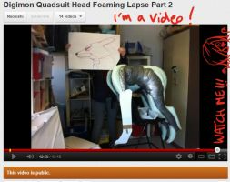 Digimon Quadsuit Head Foaming WIP Video Part 2 by Yuki-Moon