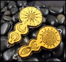 Clay - Glass - Leather Pendants - backside view by andromeda