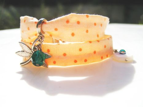 Dragonfly Double Wrapped Fabric Bracelet by pestenkerani