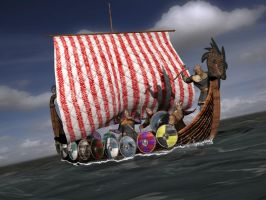 The Vikings on sea by caastel