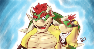 Bowser and Bowser Jr by DinoJ-13