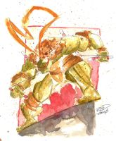 Watercolor - TMNT MIKEY SKETCH by RobDuenas
