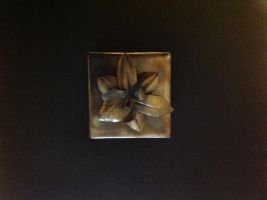 Steel Orchid Box with Brass Finish on Flower by HeathenLeFay