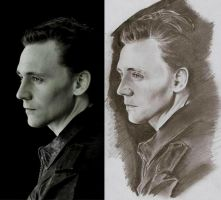 Hiddleston - Photo vs Drawing by Junjeeaieyu