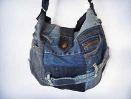 Denim Patchwork Sling Bag Ucycled Jeans by ajnataya