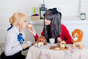 Saber and Rin Tohsaka, tea with lion by KirikoSan