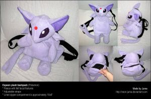Espeon plush backpack by Neon-Juma