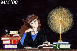 Hermione at her Books by Spleef