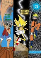 Sonic, Naruto and Luffy by SHADOWPRIME